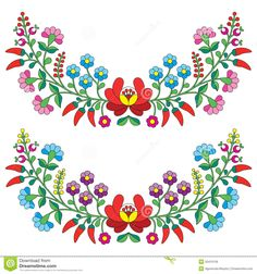 Hungarian Floral Folk Pattern - Kaloscai Embroidery With Flowers And Paprika…