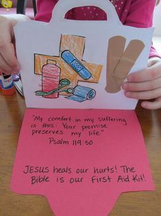 first aid kit is the Bible and Jesus heals our hurts! heart crafts, sunday school, first aid kit craft, children church, bibl, girl ministri, jesus heals craft, kid, school craft