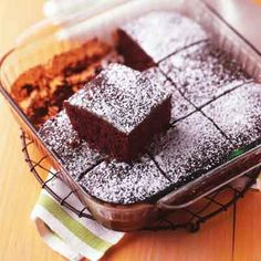 This quick and decadent double chocolate cake sprinkled with powdered sugar will satisfy the strongest chocolate cravings.