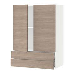 "SEKTION Wall cabinet w/2 doors+2 drawers - white, Brokhult walnut effect light gray, 30x15x40 "" - IKEA"