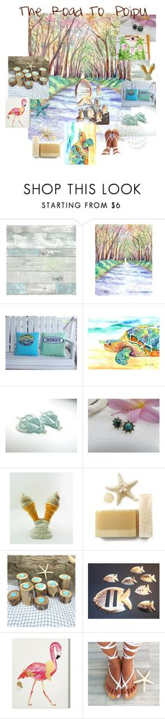"""""""The Road To Poipu"""" by macandlexie ❤ liked on Polyvore featuring interior, interiors, interior design, home, home decor, interior decorating, Wall Pops!, Hostess and Wynwood"""