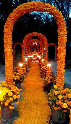 use 1 archway @ Taylor's cover in fake flowers stake in ground to stabilize set up in entrance up driveway line driveway with petals set up 4 hanging candles along driveway path (get hangers from Brenda? Mexico Day Of The Dead, Day Of The Dead Mask, Day Of The Dead Party, Holidays Halloween, Halloween Kids, Halloween Parties, Wedding Stage Decorations, Halloween Decorations, Mexico Culture