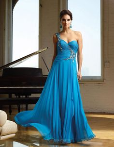 Attractive A-line One Shoulder Floor-length Chiffon Beading Blue Evening Dresses