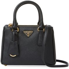 Prada Women's Galleria Double Zip Mini Saffiano Leather Tote - Black (24.510.585 VND) ❤ liked on Polyvore featuring bags, handbags, tote bags, black, mini tote bags, prada tote bag, tote purses, wing tote and handbags tote bags
