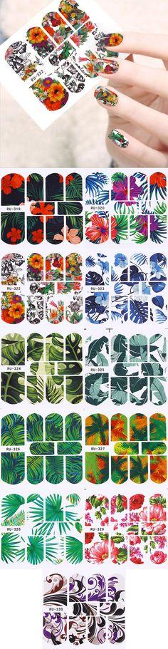 $0.99 1 Sheet Tropical Plants Nail Water Decal Manicure Flower Jungle Leaves Nail Art Transfer Sticker - BornPrettyStore.com
