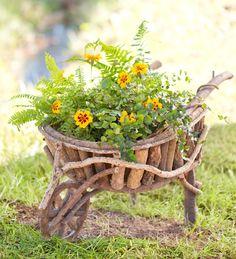 Handcrafted Wooden Wheelbarrow Planter
