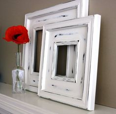 White Rustic Frames Shabby Chic Picture On Wood