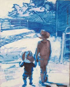 Buy Five Bar, a Acrylic on Canvas by Amy Bernays from United Sates. It portrays: Education, relevant to: school, sibling, blue, boys, western, brother, Youth, childhood, cowboy, family, kids, learn, learning This composition is about learning. I wanted to draw comparisons between the two figures in the foreground and the five bar gate in the background. The idea of learning and teaching as object and shadow. We are learning how to play the piano, the form of the gate is like the shape of…