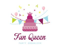 Fun queen party organizer  Logo design - This logo is great for event planner, dessert catering service, party supplies, birthday party requirements, cookies, candy, cafeteria ,kids party, entertainment, gifts shop, retailer, bakery, party organizer ... and much more.<br />purple, birthday, king, planning, happy, children, kids, stars, arrangements, sweet, candy, sweets.  Price $295.00