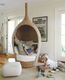 Cozy Reading Nooks for Kids A Cozy Wicker Reading ChairA Cozy Wicker Reading Chair Reading Nook Kids, Cubby Hole, Book Nooks, Cool Chairs, Kid Spaces, Kids Bedroom, Inspiration, Apartment Therapy, Wicker