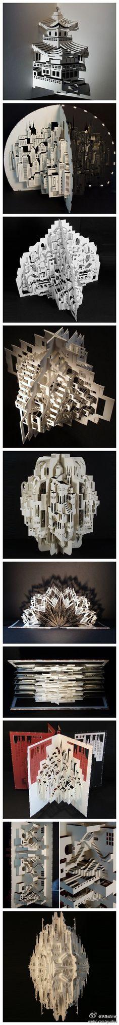剪出来的建筑。阿姆斯特丹艺术家 Ingrid Siliakus 用剪纸创作了许多拥有丰富细节的建筑, 每个作品都呈现立体结构,部分还做成了立体书形式,翻看就能看到。