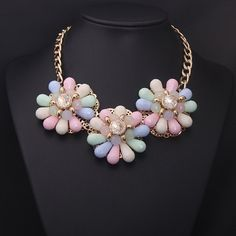 Flower Statement Necklace Bib Collar by Attractivenecklace on Etsy, $8.50