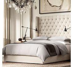 St. James Upholstered Bed Collection Antiqued White | Restoration ...