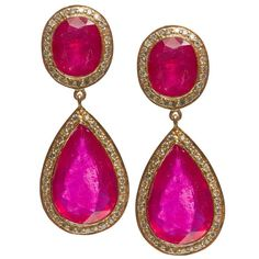 http://rubies.work/0623-multi-gemstone-ring/ Jade Jagger Fine Double Ruby Earrings with Diamonds | 1stdibs.com