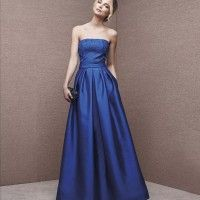 Flared dress with strapless neckline in mikado. Strapless bodice decorated with lace appliqués. Skirt with pleats and side pockets. Affordable Evening Gowns, Evening Gowns On Sale, Blue Evening Gowns, Evening Dresses, Prom Dresses 2017, Bridesmaid Dresses, Most Beautiful Dresses, Party Dresses For Women, Occasion Dresses