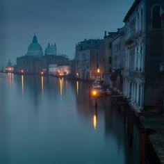 Venice sunrise in blue mood by JrnSeidenschnur: Blue mood in Venice. Early morning view from Ponte dell Academia.
