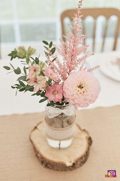 Table Centre Pink Flowers Floral Eucalyptus Dahlia Wood Slice Laser Cut Name He. Table Centre Pink Flowers Floral Eucalyptus Dahlia Wood Slice Laser Cut Name Hessian Flag Runner Wood Farm Barn Wedding Suffolk Faye Amare Photography Bridal Shower Decorations, Wedding Decorations, Desk Decorations, Baby Shower Girl Centerpieces, Wedding Lanterns, Wedding Table Centres, Table Centre Pieces Wedding, Wedding Table Names, Mason Jar Centerpieces