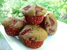 Gluten Free Dairy Free Strawberry Buckwheat Muffins | OAMC from Once A Month Mom - Breakfast