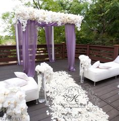 Purple wedding theme ideas_Purple Lavender cermony arch