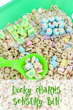 This Lucky Charms Sensory Bin for kids is so much fun and edible too! It literally takes mere minutes to put together for what could potentially be hours of fun for little hands. My loves this as well so it isn't just for 'little' kids. Autism Activities, Sensory Activities, Infant Activities, Activities For Kids, Activity Ideas, March Lesson Plans, Lesson Plans For Toddlers, St Patricks Day Crafts For Kids, St Patrick's Day Crafts