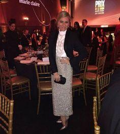 Cristina Reyes, acudió a los Prix de la Moda de Marie Claire con blazer y falda de Tot-Hom y una blusa semi-transparente. #altacostura #style #estilo #famosas #inauguracion #tothom #stilettos #modamujer #moda