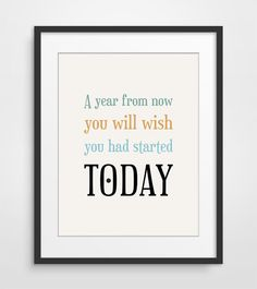 A year from now, Typography Poster, Office Decor, Success Quote, Typographic Print on Etsy, $18.00