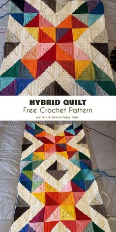 Crochet blanket patterns 637611259728121952 - Hybrid Quilt Free Crochet Pattern This triangular half-square pattern combines both traditional complete squares and ones made of two triangular half-squares. Crochet Home, Crochet Crafts, Free Crochet, Knit Crochet, Crochet Baby, Crochet Blanket Patterns, Crochet Stitches, Quilt Patterns, Knitting Patterns