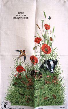 Badger and Poppies Hedgehog Tea Towel  Vintage by FunkyKoala