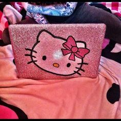 Bedazzled hello kitty laptop.
