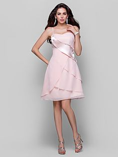 TS Couture® Cocktail Party / Homecoming Dress - Short Plus Size / Petite A-line / Princess Spaghetti Straps Short / Mini Chiffon / Stretch Satin