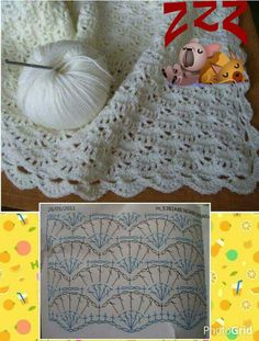 Baby Crochet Patterns Part 10 - Beautiful Crochet Patterns and Knitting Patterns Crochet Diagram, Crochet Chart, Free Crochet, Knit Crochet, Crochet Afghans, Crochet Stitches Patterns, Crochet Designs, Knitting Patterns, Baby Blanket Crochet