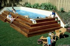 Gut {plant Flanked Above Ground Pool} *aps Idea: Increase Decking Immediately  Around Pool To Allow For More Lounging Space.