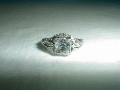 edwardian sterling engagement ring sz.7 by qualityvintagejewels. www.qualityvintagejewelry.com .