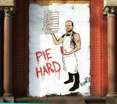 """ghettacards: """"Have you moved into the dessert portion of your Thanksgiving dinner yet? I love me some pumpkin pie. Yippee ki-yay mothertruckers! Pie Hard by HANSKY. What's your go to pie? @hanskynyc #hanksy #mural #wallart #streetart #wheatpaste #pasteup #art #artist #pie #thanksgiving #family #love #loveit #food #nyc #smile #funny #instagood #instalike #instadaily #instamood #instafollow #instacool #ghettacards #picoftheday #photooftheday #family"""""""