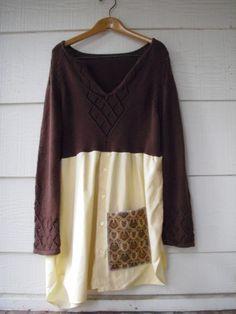 Funky Sweet Sweater Shirt Dress/ Eco Dress/ by FuriousDesigns, $52.00