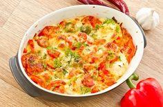 Auflauf mit Hähnchen, Paprika, Tomaten und Rosenkohl