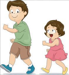 Picture of Illustration of a Little Girl Copying the Way Her Elder Brother Walks stock photo, images and stock photography. Back 2 School, 1st Day Of School, Beginning Of The School Year, Preschool Education, Preschool Kindergarten, Team Games, Banner Printing, Cartoon Kids, Illustration