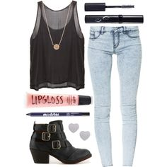 acid wash jeans and a simple top I totally have everything to make this outfit :-D