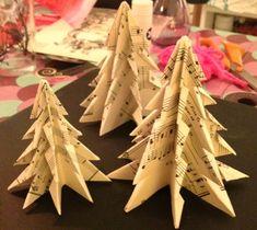 Juletræer lavet af nodepapir - inspireret af Myminmy. Fotograf: Susanne Randers