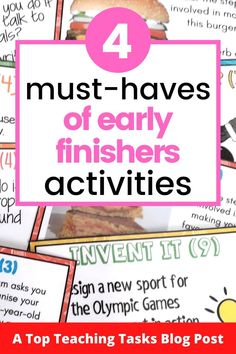 "Early Finishers Activities are a must in your classroom. We have all heard the dreaded, ""I'm Done, Now What? Physics Classroom, Primary Classroom, Primary School, Argumentative Writing, Persuasive Writing, Teaching Materials, Materials Science, Early Finishers Activities, Higher Order Thinking"