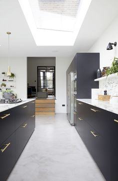 A stylish family home location with open plan living spaces, lots of natural light, spacious rooms and off street parking. Open Plan Kitchen Living Room, Home Decor Kitchen, Kitchen Interior, Home Kitchens, Kitchen Design, Bakery Design, Cafe Design, Design Design, Concrete Floors