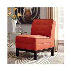 Upholstered Slipper Chair ($357) ❤ liked on Polyvore featuring home, furniture, chairs, accent chairs, persimmon orange, orange furniture, orange upholstered chair, fabric accent chairs, orange chair and upholstered furniture