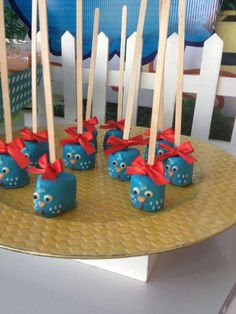 Marshmallow pops at a farm birthday party! See more party ideas at CatchMyParty.com!