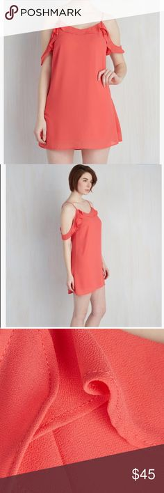 """Coral strap dress Clad in this glowing coral dress you have the ability to ignite any social gathering with your fiery charisma. Adjustable spaghetti strap detail this shifts low skimming back, while off the shoulder ruffles keep this garment sizzling. Small length 33"""" medium 33.5 and large 34. Fabric is 100% polyester, dress is fully lined. ModCloth Dresses"""