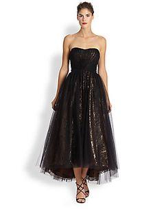 ML Monique Lhuillier Strapless Tulle Ballerina Gown