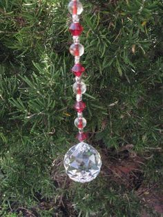 Crystal Ball Ornament 30mm RED GOTHIC Theme Rainbows Feng Shui by JulsCraftCrazy, $12.00