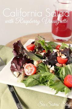 The perfect light lunch - California Salad with Raspberry Vinaigrette Dressing from SixSistersStuff.com. Healthy has never tasted so good! ;)