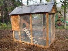 Perfect size coop!  Lovely and another one of our creations at Microfarm!  Microfarmgardens.com