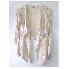 """Mesh Fishnet Cascade Cardigan Length: 17""""-27.5""""   Long-sleeved cardigan with lightweight construction, shawl collar, and draped open front. Which adds a pretty layer to your existing ensemble. Gently worn. Small paint mark on bottom right, shown in first photo. Charlotte Russe Jackets & Coats"""