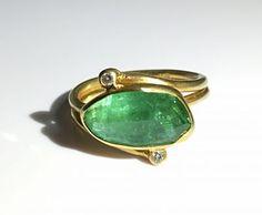 18K yellow gold, green tourmaline and diamond ring by Margoni #igorman #margoni
